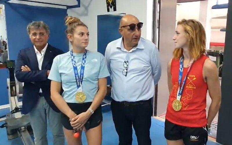 Le olimpioniche Rodini e Cesarini ai Canottieri: allenamento con i nostri atleti